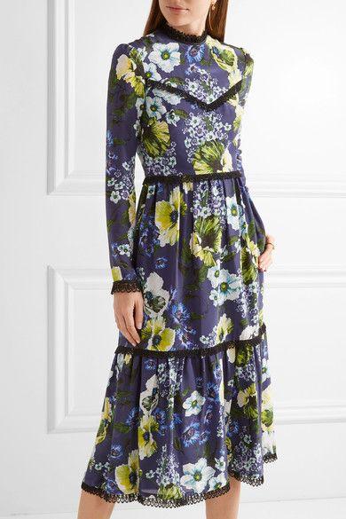 Erdem - Georgie Lace-trimmed Printed Silk Crepe De Chine Dress - Navy - UK16