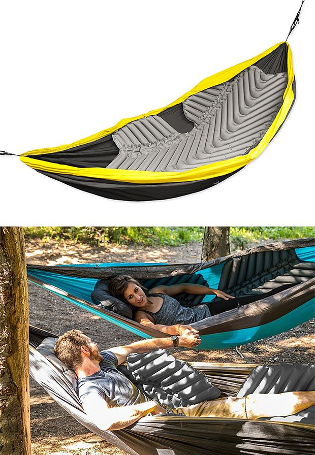 Klymit Hammock V Sleeping Pad -- Trying to wedge a standard sleeping pad into your hammock is far from ideal. But the Hammock V sleeping pad is. It's purpose-built, with coated non-slip zones so it stays put, a V-Chamber design that limits air movement, and a shape wraps around your body to keep the cold from creeping in from below. Weighs just 27 ounces & inflates with 15-20 breaths. $140