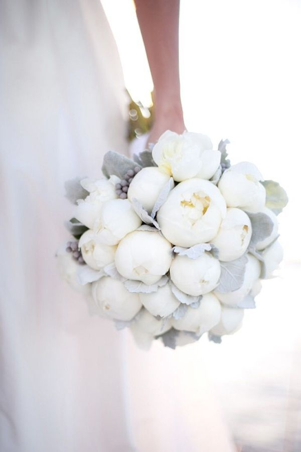 white peony bouquet with dusty miller