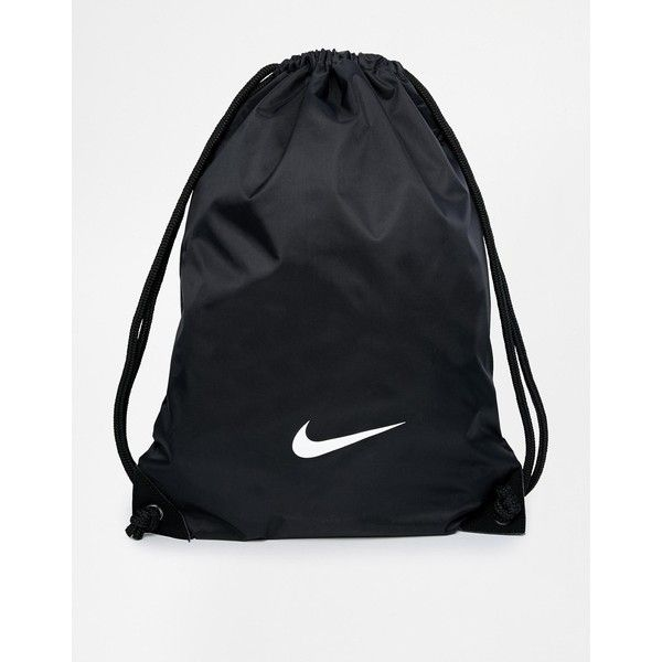 Nike Gymsack in Black (€11) ❤ liked on Polyvore featuring bags, handbags, shoulder bags, black, drawstring purse, nylon handbags, nike, nylon purse and nike shoulder bag