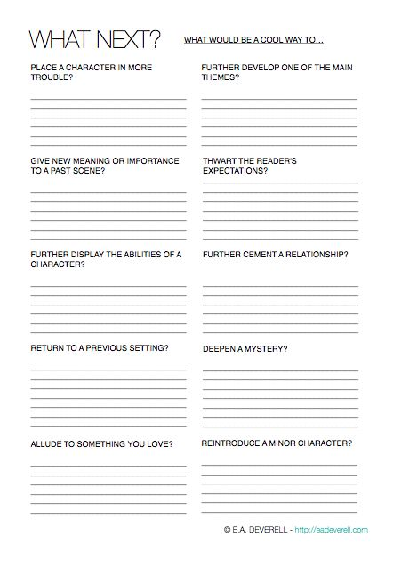 Writing Worksheet – What Next? (PDF) In honour of NaNoWriMo, this month's worksheets will have one purpose: to increase your word count by hook or by book. A novel, even a short one of 50,000 words, comprises many more happenings than one might expect. If you find yourself at this mid-way point of the month,…