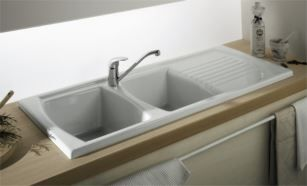 Lusitano 120x50 Recessed Fine Fireclay Kitchen Sink - Double Bowl and Single Drainer - Turner Hastings