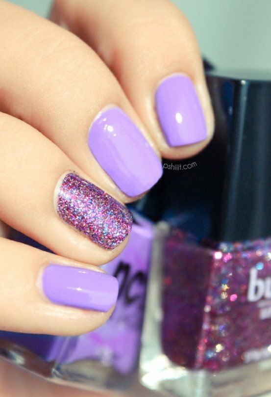 Lavender Polish With Purple Glitter Accent Nail