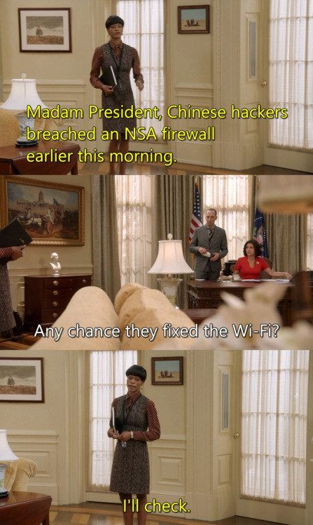 """Selina's first burn regarding Chinese hackers, first directed at the White House wifi: 