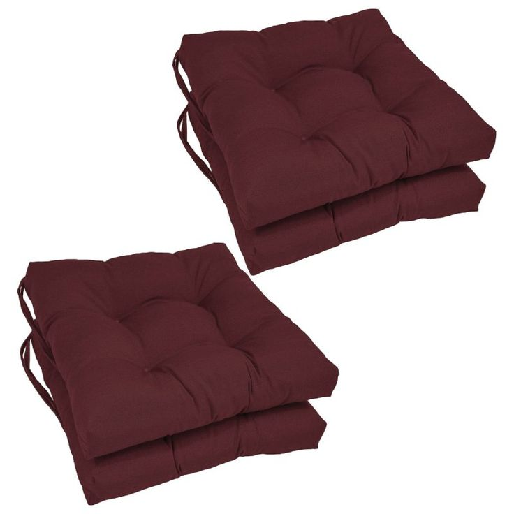 Blazing Needles Square 16 x 16 in. Twill Dining Chair Cushions - Set of 4 Burgundy - 916X16SQ-T-4CH-TW-BG