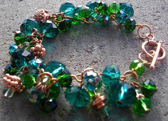 Waterfalls Wire Wrapped Charm Bracelet by CinnamonLotus on Etsy, $26.00: Charm Bracelets, Wraps Charms, Charms Bracelets