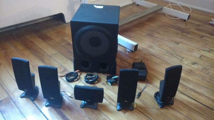 5.1 surround sound home theatre system. 5 speakers 1 subwoofer all in working condition. comes with three 3.5mm cables for input and one power adaptor. i'm selling it for cheap because it's old and we don't have a tv anymore to plug it to. send me an email through the ad and schedule a pick up.