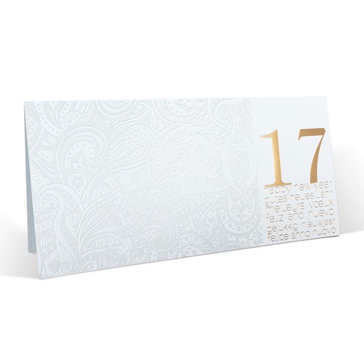 Edle Neujahrskarten mit eleganter Weiß- & Goldfolienprägung & Einlegeblatt.