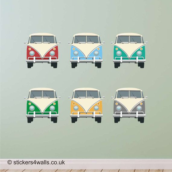 CAMPERVAN Fabric Wall Stickers front view. Repositionable.