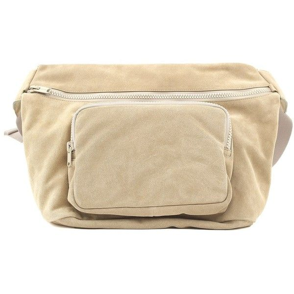 Yeezy by Kanye West Suede Cross-Body Bag Season 5 ($460) ❤ liked on Polyvore featuring bags, handbags, shoulder bags, beige, suede shoulder bag, brown suede purse, crossbody shoulder bag, suede handbags and beige handbags