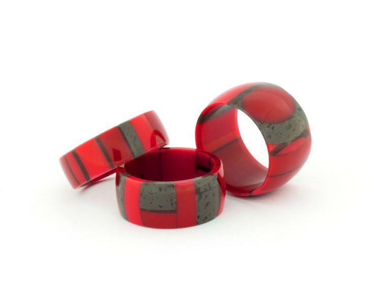 red Corian rings www.francoeccel.com lab@francoeccel.com #francoeccel #contemporaryjewelry