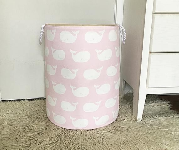 Whale Laundry Hamper Canvas Basket Whale Tales Twill Bella Pink