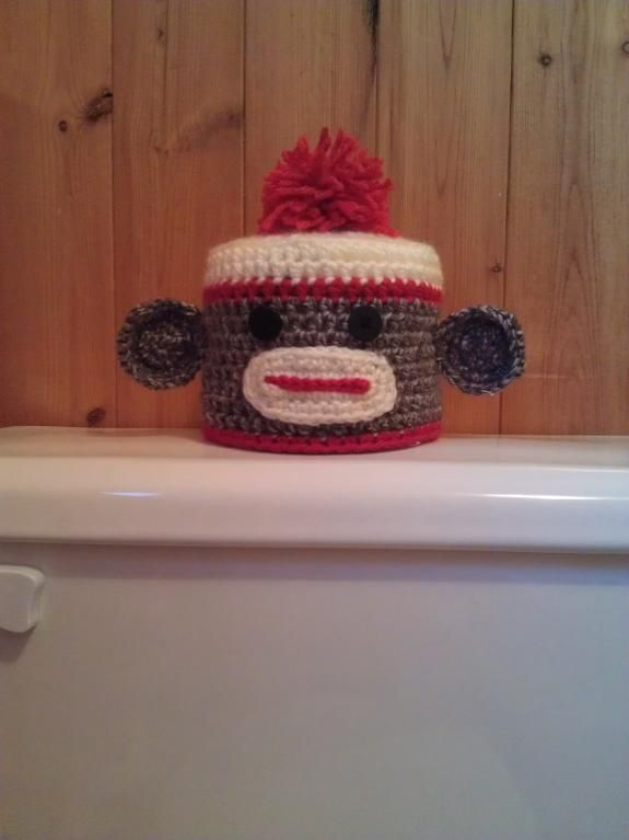 Sock Monkey Toilet Tissue Cover pattern for sale but if I do this I don't need a pattern so this is for inspiration.