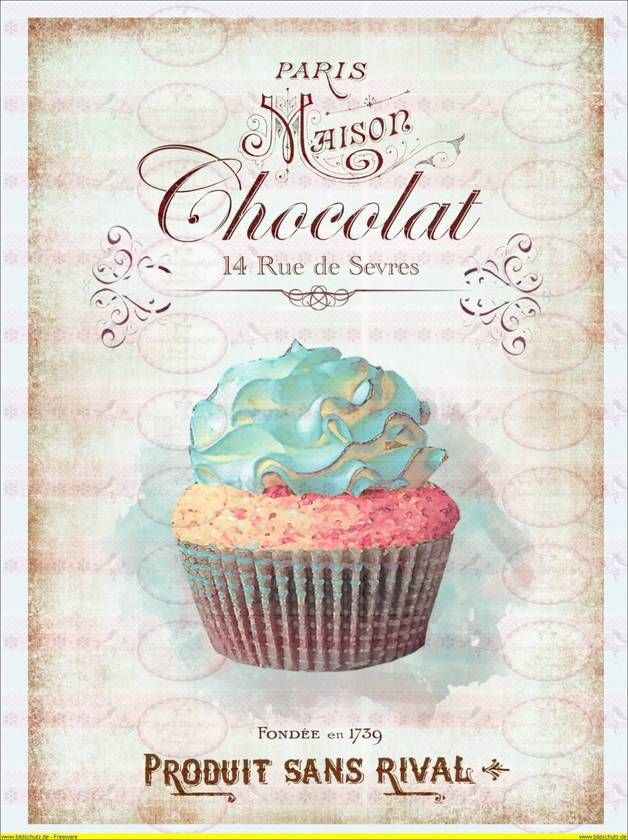1A4 Vintage Shabby Bügelbild Schokolade Cupcake...