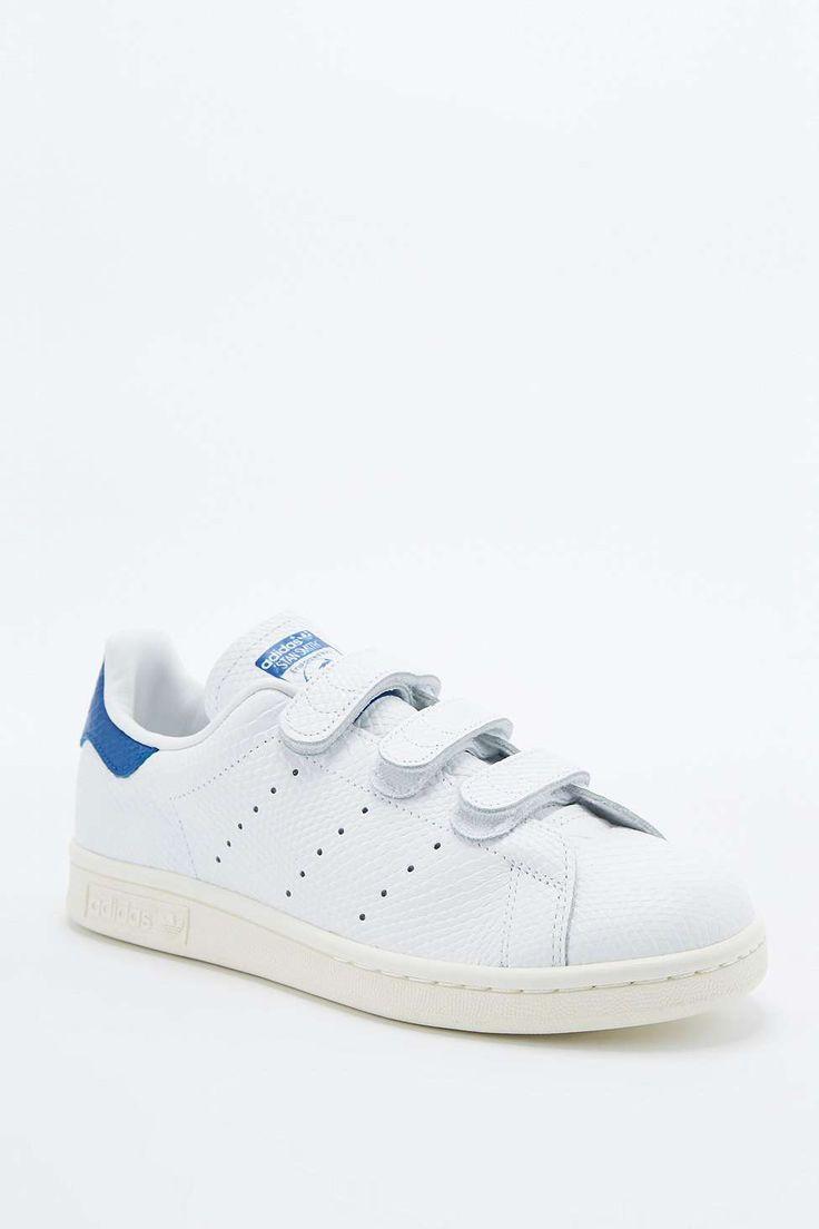 adidas Originals Stan Smith White & Blue Velcro Trainers