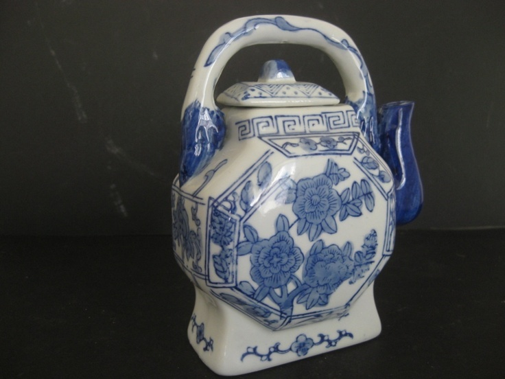 Vintage Blue White Chinese Porcelain Tea Pot Lovely Flowers Hand Painted China   eBay