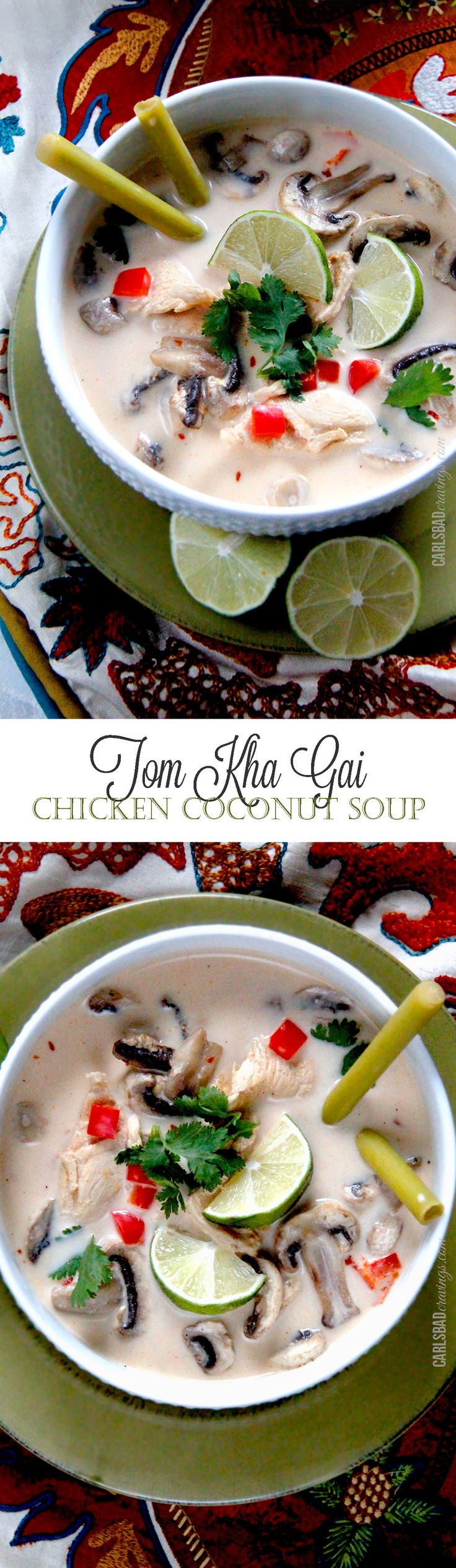 Tom Kha Gai (Chicken Coconut Soup) -- Warm coconut broth infused with lemongrass, red curry, ginger, and basil, with thinly sliced tender chicken, mushrooms and red bell peppers. Refreshing with layers of tantalizing spices. Every bit as delicious as your favorite Thai restaurant and on your table in less than 30 minutes! http://www.carlsbadcravings.com/tom-kha-gai-thai-chicken-coconut-soup/