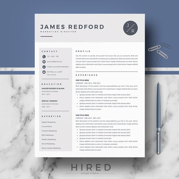 Professional & Modern Resume Template for Word: James   - 100% Editable. - Instant Digital Download. - US Letter & A4 size format included. - Mac & PC Compatible using Ms Word.  ► PROMO CODES: --> Get 30% OFF on 2 templates with the code HIRED30 --> Get 35% OFF on 3 templates with the code HIRED35
