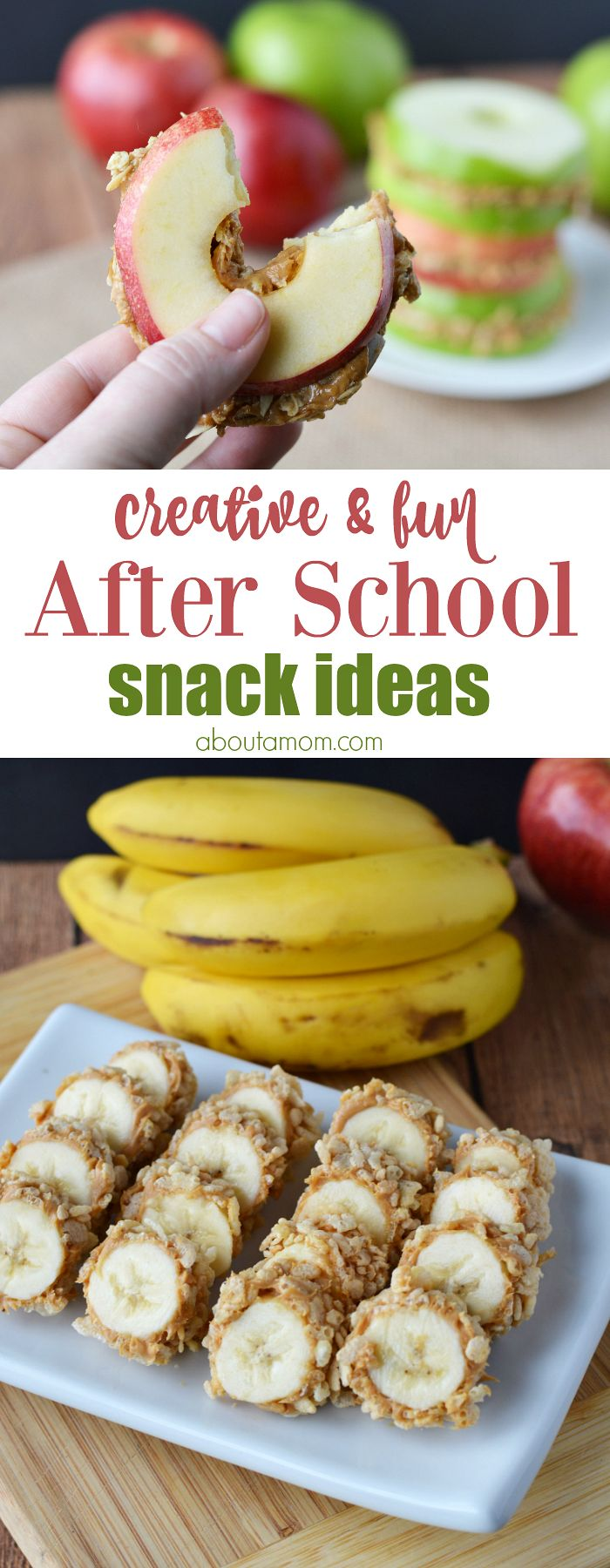 Creative and fun after school snack ideas like banana sushi and apple sandwiches will help your kids power through homework time. #APlusEatsandDrinks AD