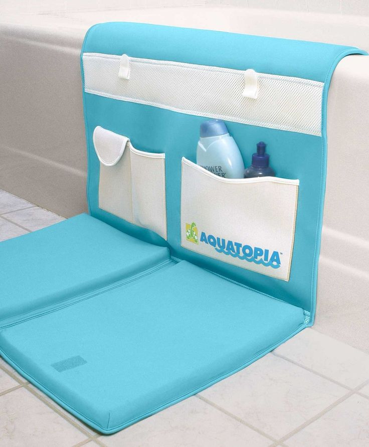 Aquatopia deluxe safety easy bath kneeler makes  you stay safe and comfortable during bath time  with the extra large, deluxe, anti-slip cushioned  pad for your knees and extra padding for your  elbows. It is easy to use. The kneeler unfolds in  seconds. It is made from water friendly neoprene  and it has pockets that are perfect for soaps and  shampoos, keeping everything you need close at  hand.