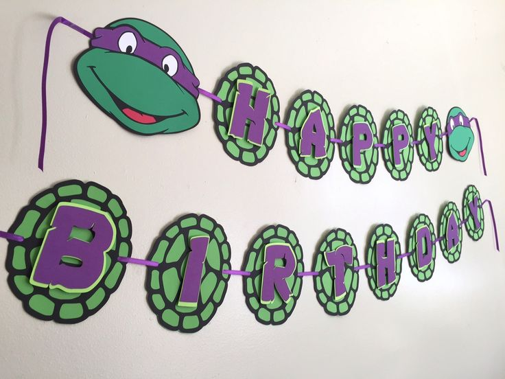 Ninja Turtle Purple Banner for Girls Ninja Party