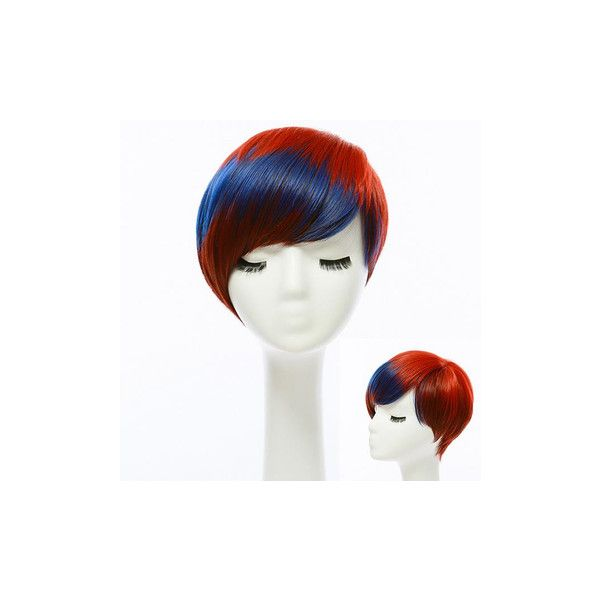 Fashionable Girls Short Straight Colorful Wig Hair Highlight... ($13) ❤ liked on Polyvore featuring beauty products, haircare, hair styling tools and white