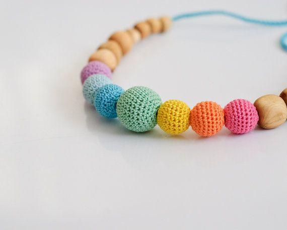 Aqua Simple Rainbow Necklace - Nursing Necklace, Crochet Teething Necklace - KangarooCare on Etsy, $27.19 AUD