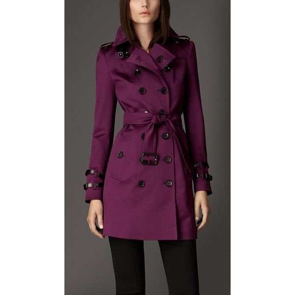 Women's Trench Coats ❤ liked on Polyvore featuring outerwear, coats, purple coat, purple trench coat and trench coat