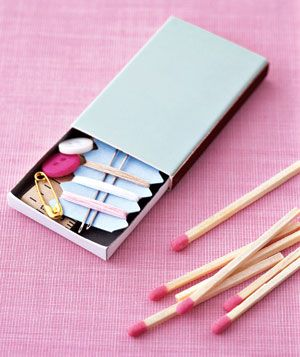 Use a matchbox as Travel Sewing Kit
