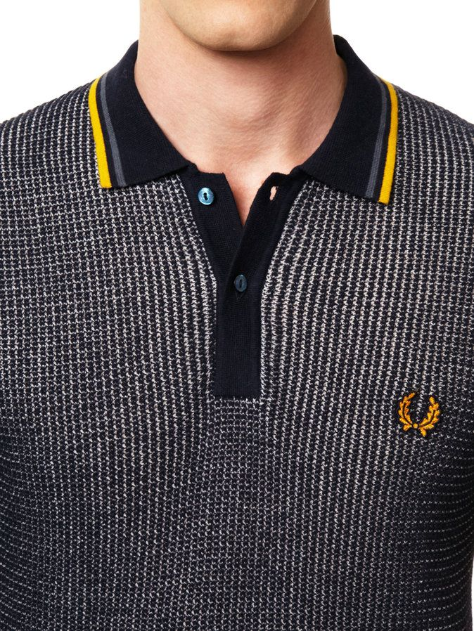 Textured Knitted Polo by Fred Perry at Gilt