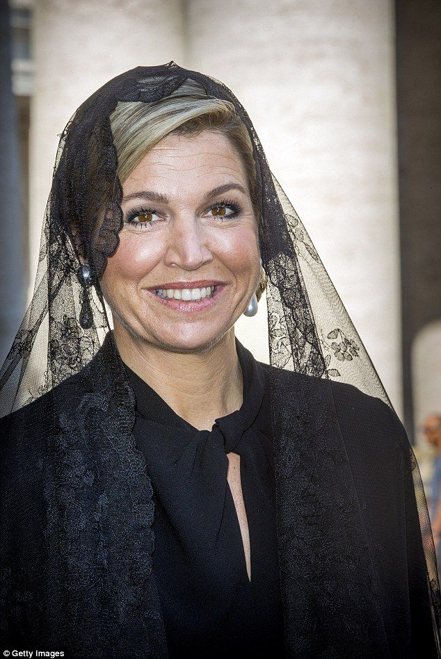 Queen Maxima of the Netherlands wore a black lace mantilla to meet Pope Francis in Vatican City during the Dutch royals' state visit to Italy
