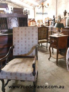 ANTIQUE FRENCH CARVED HIGH BACK CHAIR PROVINCIAL STYLE