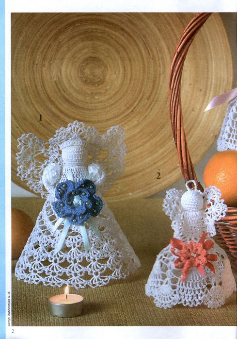 Crocheted angels (from the magazine Valea Valentine). (with diagrams and…