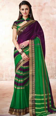 Kanchi Cotton Sarees Online Violet Striped Best Deal Offer ND100D119