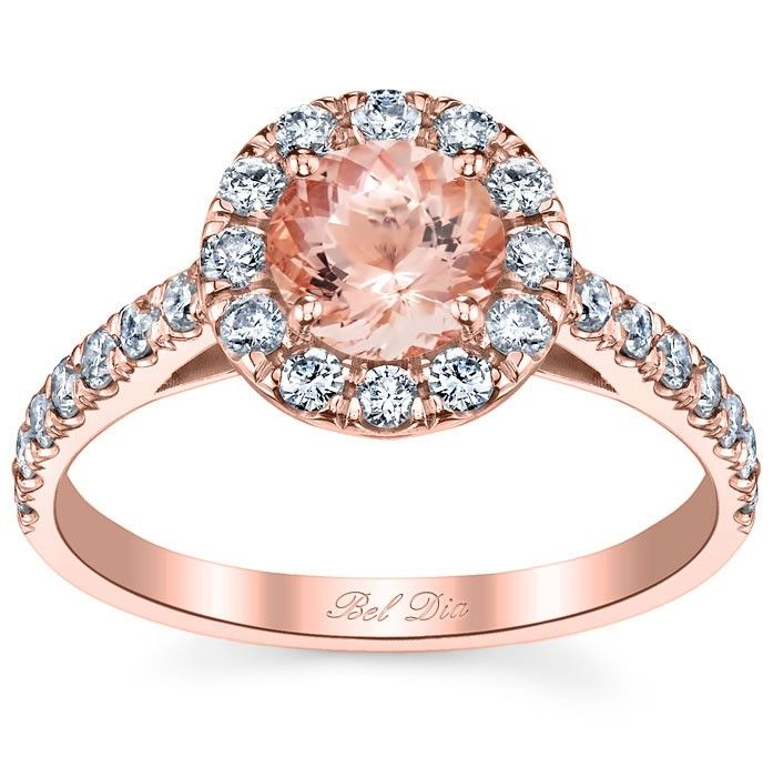 Fancy Round Morganite Engagement Ring with Diamond Halo
