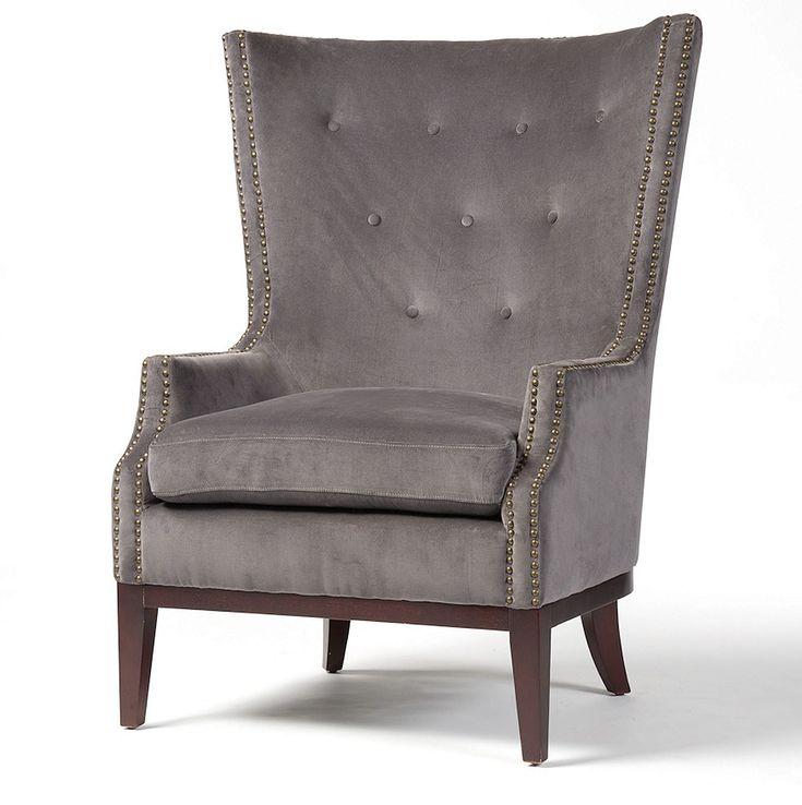 Lillian grey velvet wingback chair velvet wingback chair