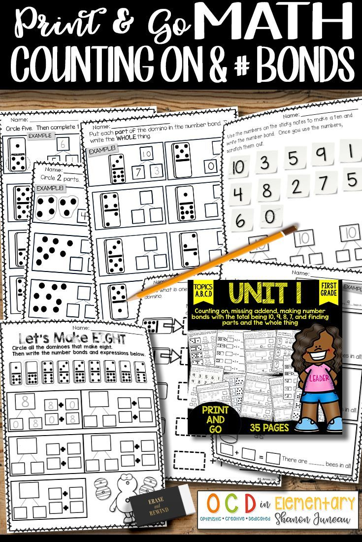 Counting on and number bond worksheets are a must in the first grade classroom. You can use these for guided work, independent work, and/or reinforcement.