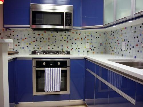 Multicolor glass tile backsplash   Kitchen - White cabinets, yellow walls,  white counters, subway tiles   Pinterest - Multicolor Glass Tile Backsplash Kitchen - White Cabinets