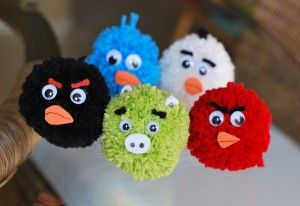 angry bird pom-poms!