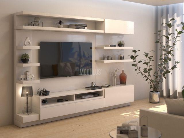 Sistema Mural 09 Realizado En Mdf Con Terminacion En Laca Poliuretanica Tipo Premium Semi Mate Living Room Tv Unit Designs Tv Room Design Living Room Tv Unit