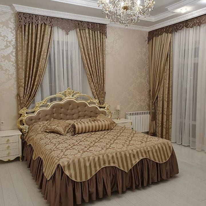 дизайн покрывал и штор в спальню фото раздевается своей