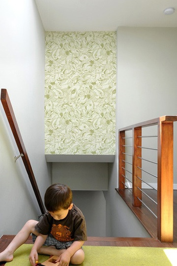 Bilk tiles: for the look of wallpaper, without the commitment of glue. Self adhesive tiles for accent walls/faux head boards. Love this going down the stairs....