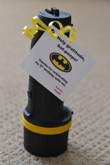 "Photo 6 of 31: Super Heroes, Batman, Batgirl, Hot Pink, Yellow, Black / Birthday ""Faith's 5th Batman/Batgirl Party"" | Catch My Party Favor idea - batman flashlights"