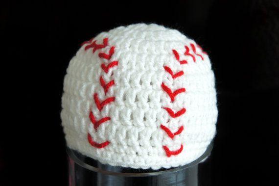 Baseball Hat, Softball, MLB, Sports Hat, Crochet Baby Hat, Baby Hat, photo prop. $14.99, via Etsy.