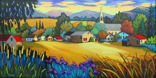Champs de lumière by Louise Marion - Louise Marion, artiste peintre, paysage urbain, Quebec, couleurs