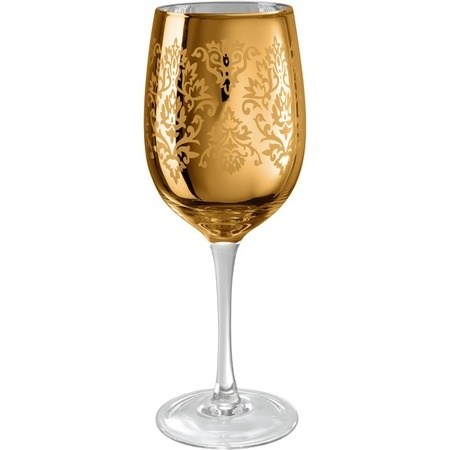 I pinned this Brocade Wine Glass in Gold (Set of 4) from the Elegantly Eclectic event at Joss and Main!