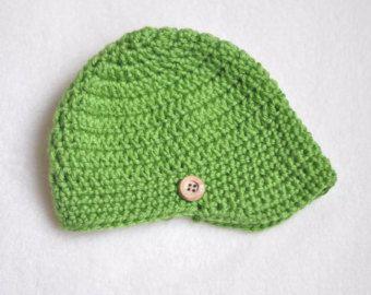 Menino recém-nascido chapéu, chapéu jornaleiro crochet, chapéu do bebê verde