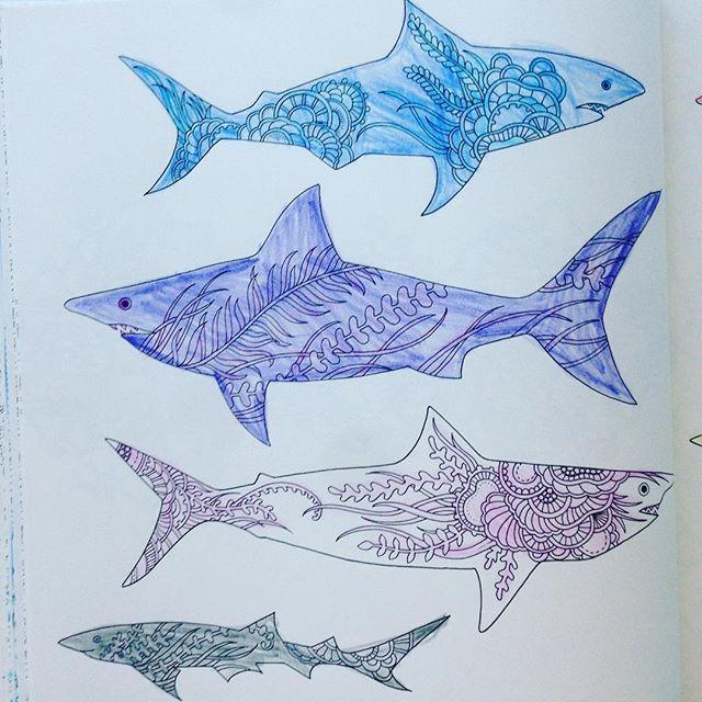 """Oto moje rekiny z kolorowanki """"Zaginiony Ocean""""  #zaginionyocean"""
