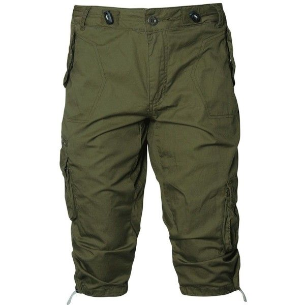 Fenchurch Acacia Combat Shorts ($15) ❤ liked on Polyvore featuring men's fashion, men's clothing, men's shorts, pants, shorts, long pants, mens long shorts, mens elastic waist shorts, tall mens shorts and men's apparel