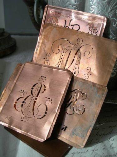 Collection 9 antique German copper embroidery monogram stencils